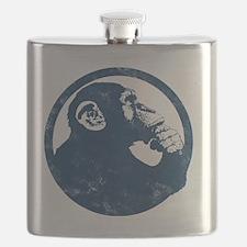 Thoughtful Monkey 2 - Blue Flask