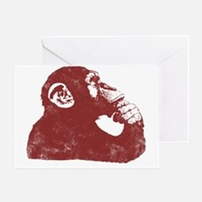 Thoughtful Monkey - Red Greeting Card