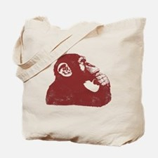Thoughtful Monkey - Red Tote Bag