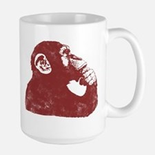 Thoughtful Monkey - Red Large Mug