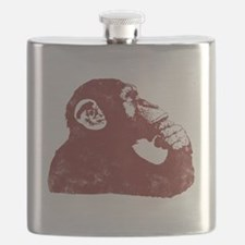 Thoughtful Monkey - Red Flask
