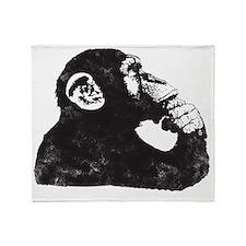 Thoughtful Monkey  Throw Blanket