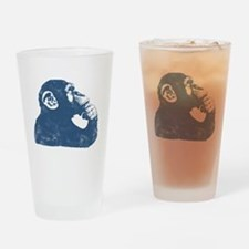 Thoughtful Monkey - Blue Drinking Glass
