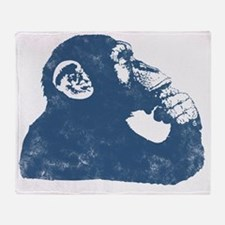 Thoughtful Monkey - Blue Throw Blanket