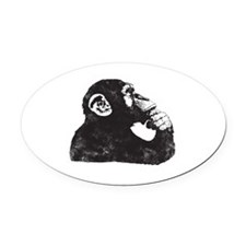 Thoughtful Monkey  Oval Car Magnet