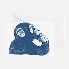 Thoughtful Monkey - Blue Greeting Card