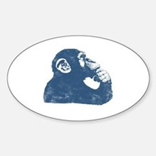 Thoughtful Monkey - Blue Sticker (Oval)
