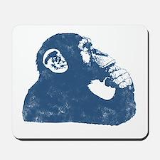 Thoughtful Monkey - Blue Mousepad