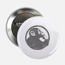 """Thoughtful Monkey 2 - Gray 2.25"""" Button"""