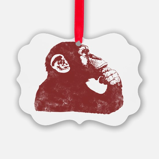 Thoughtful Monkey - Red Ornament