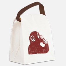 Thoughtful Monkey - Red Canvas Lunch Bag