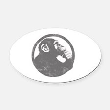 Thoughtful Monkey 2 - Gray Oval Car Magnet
