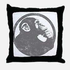 Thoughtful Monkey 2 - Gray Throw Pillow