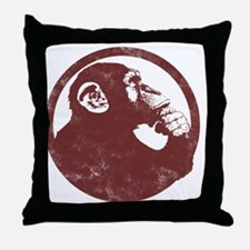 Thoughtful Monkey 2 - Red Throw Pillow