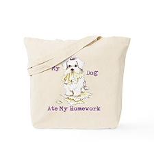 Maltese Ate Homework Tote Bag