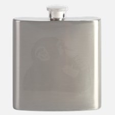 Thoughtful Monkey - White Flask