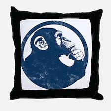 Thoughtful Monkey 2 - Blue Throw Pillow