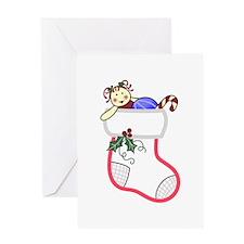 CHRISTMAS STOCKING APPLIQUE Greeting Cards