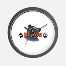 BEAR AND PAW PRINTS Wall Clock