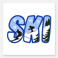 "SKI MONTAGE Square Car Magnet 3"" x 3"""