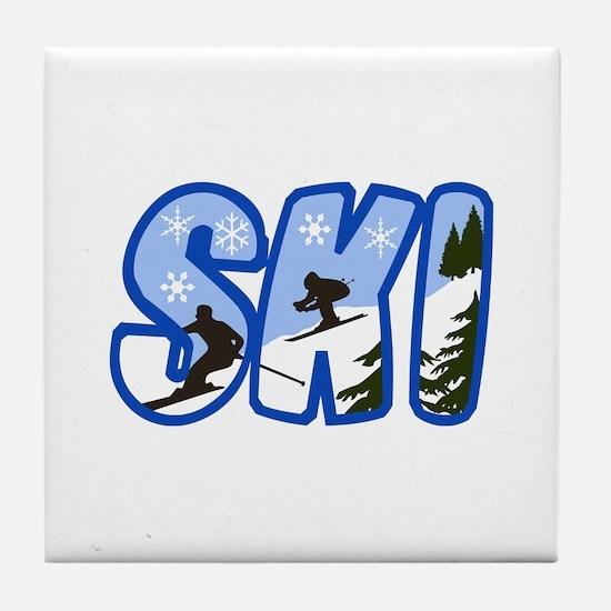 SKI MONTAGE Tile Coaster