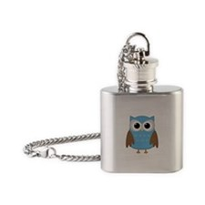 blue owl png.png Flask Necklace