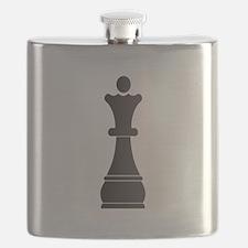 Black queen chess piece Flask