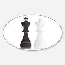 Black king white queen chess pieces Decal