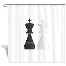 Black king white queen chess pieces Shower Curtain
