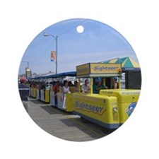 Watch the Tram Car  Round Ornament