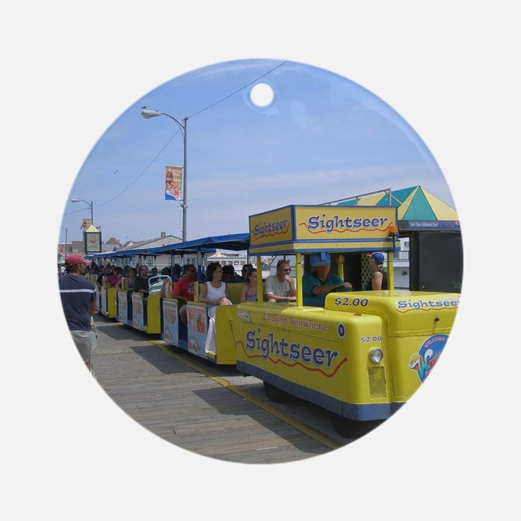 Watch the Tram Car  Round Ornament