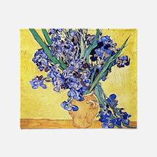 Van Gogh Iris Vase Throw Blanket