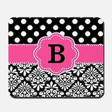 Black Pink Damask Dots Monogram Mousepad