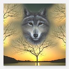 Shaman's Dream Wolf ~ Square Car Magnet 3&quot
