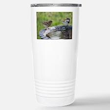 Two Birds at a Birdbath Stainless Steel Travel Mug