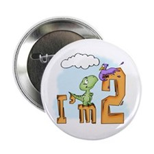 Dinosaur Fun 2nd Birthday Button