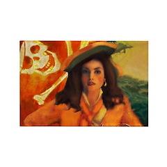 Anne Bonny & Orange Roger Rectangle Magnet (10 pac