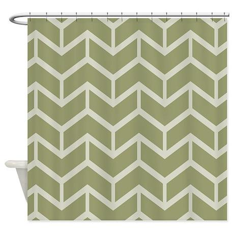 Chevron Sage Green Shower Curtain By Mainstreethomewares2