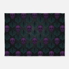 Teal and Purple Damask Skulls 5'x7'Area Rug