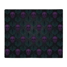 Teal and Purple Damask Skulls Throw Blanket