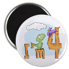Dinosaur Fun 4th Birthday Magnet
