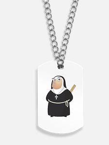 Angry Nun Dog Tags