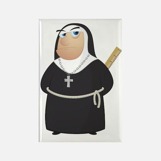 Angry Nun Rectangle Magnet