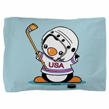 Ice Hockey Penguin Pillow Sham