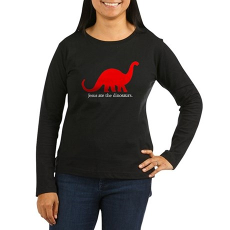 'Jesus 8 Dinos' Women's Long Sleeve Dark T-Shirt