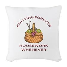 KNITTING FOREVER Woven Throw Pillow