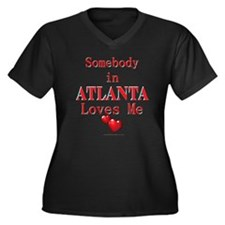"""Somebody...ATLANTA"" Women's Plus Size V-Neck Dark"