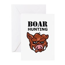 BOAR HUNTING Greeting Cards