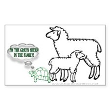 Green Sheep In The Family Rectangle Decal