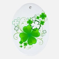 4 Leaf Clovers Oval Ornament
